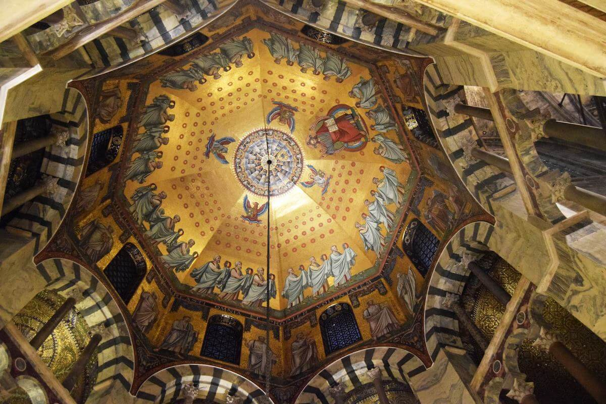 Beautiful octagonal ceiling of the Palatine Chapel in Aachen, Germany. This cathedral was commissioned by Charlemagne and is recognized by UNESCO as a world heritage site. #travel #germany