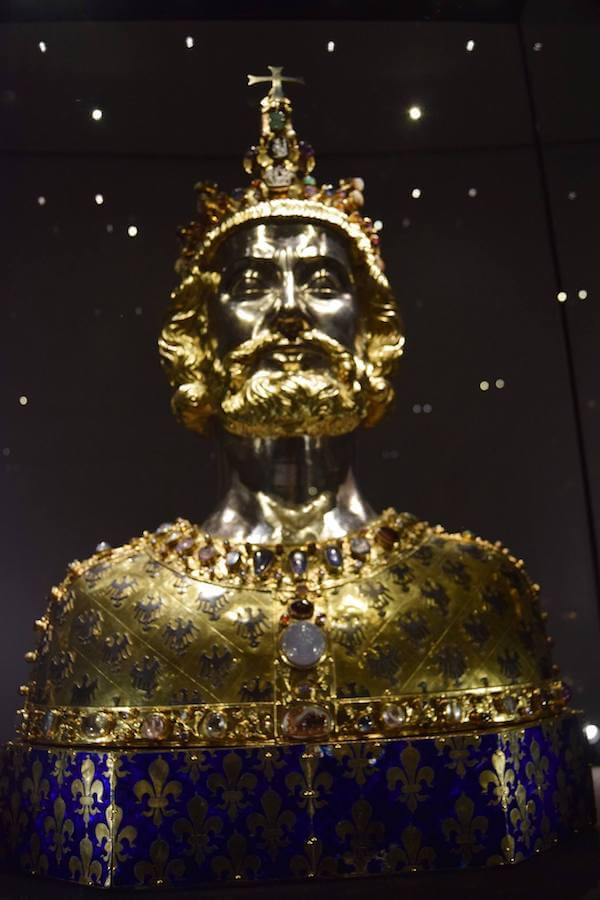 The bust of Charlemagne, one of the treasures within the Aachen Cathedral Treasury in Aachen Germany. History lovers will love this place! #travel #history #germany #aachen