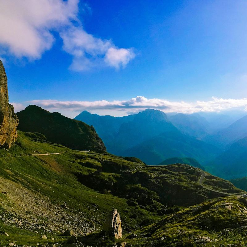 View of the road up Mangrt, one of Slovenia's tallest mountains. This is the highest road in Slovenia, perfect for adrenaline junkies! #slovenia #mountains #travel #europe