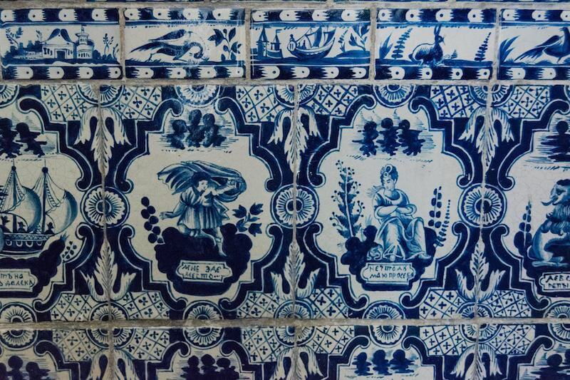 Beautiful Russian tiles at a museum in Yaroslavl Russia.