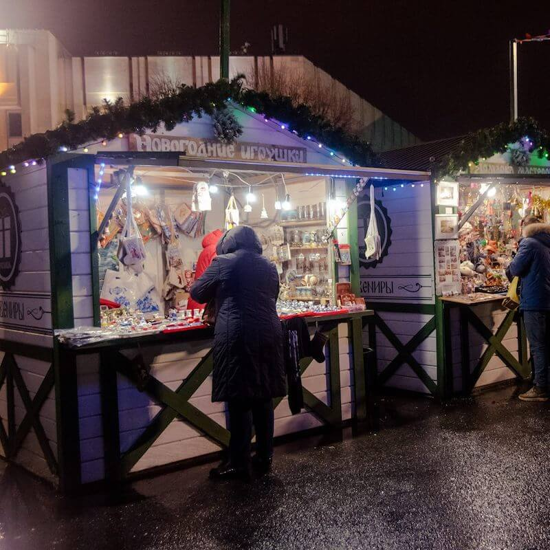 Christmas stalls at the Christmas market in yaroslavl, Russia. #christmas #travel