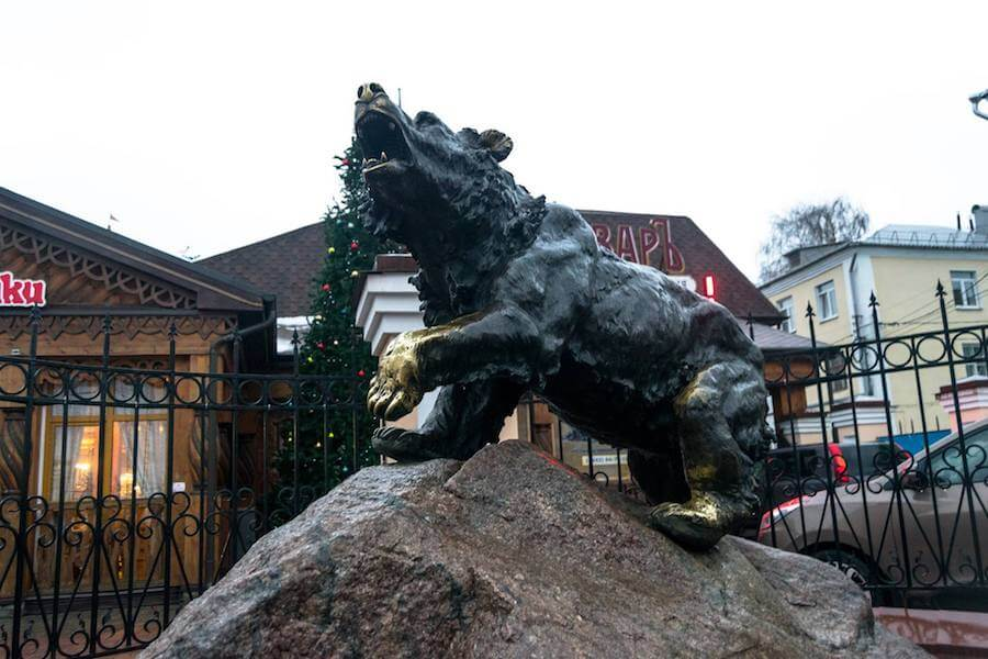 Bear statue in Yaroslavl, Russia. The bear is the symbol of Yaroslavl.