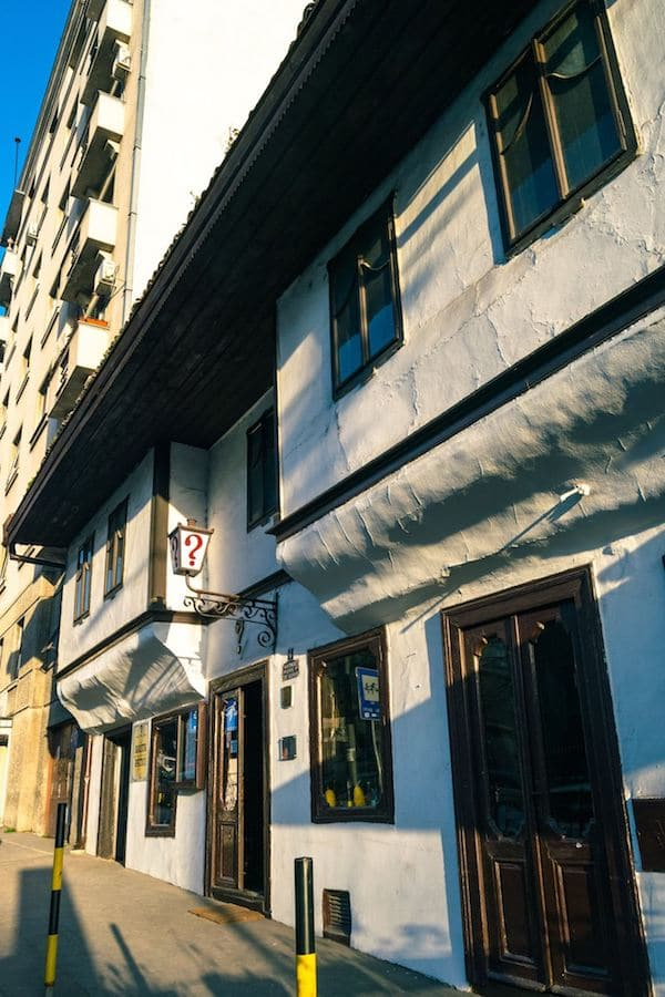 Exterior of Kafana ?, one of the most famous kafanas in Belgrade, Serbia. Kafanas are traditional Serbian cafes. #travel #serbia #belgrade