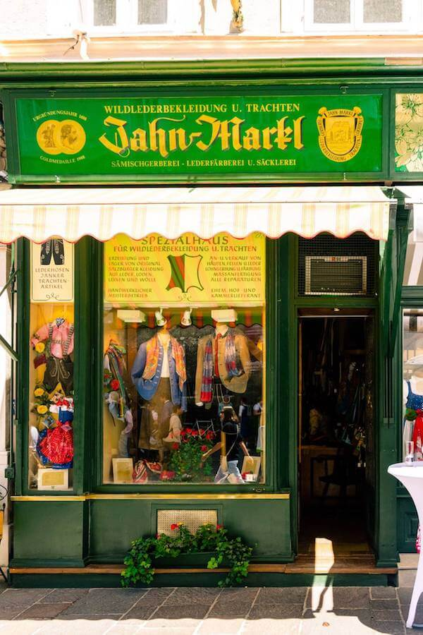 Beautiful tratchen shop in Salzburg, Austria. Buying a tratchen (traditional Austrian clothes) is one of the best things to do in Austria! #austria #salzburg