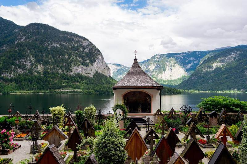 Cemetery above Hallstatt near the Parish of the Assumption in Hallstatt, Austria.
