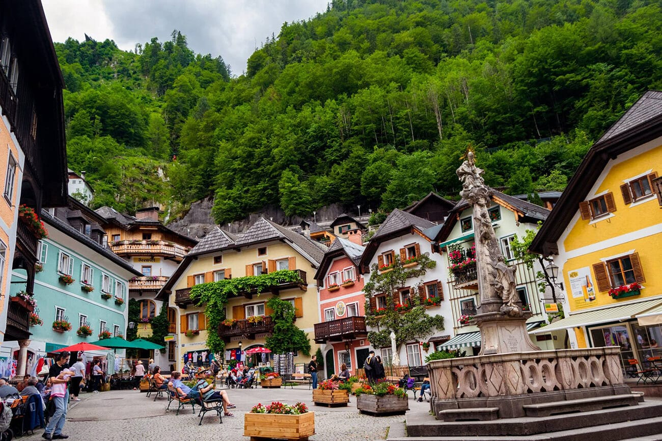 Beautiful town square of Hallstatt Austria, one of the best things to see in Hallstatt, Austria.