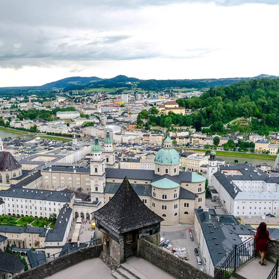 Beautiful view of Salzburg from Hohensalzburg Fortress (Salzburg castle), one of the best things to do in Salzburg.