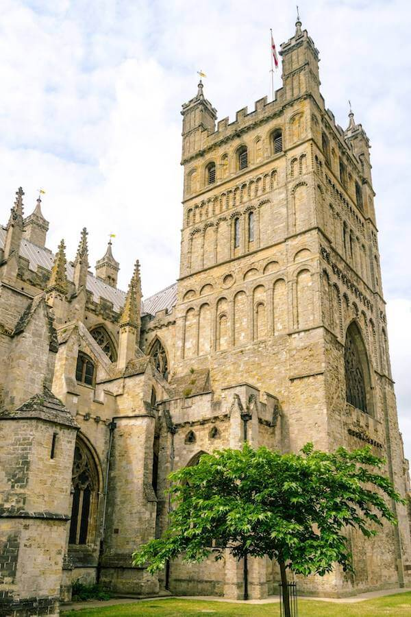 Stunning tower of Exeter Cathedral, one of the best things to do in Exeter, Devon!