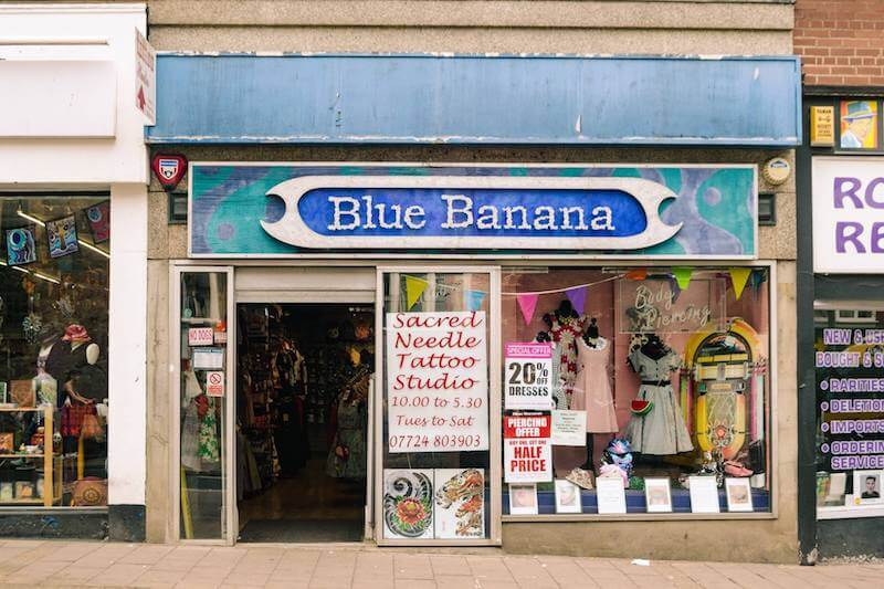 Exterior of Blue Banana, a popular destination for alternative shopping in Exeter.