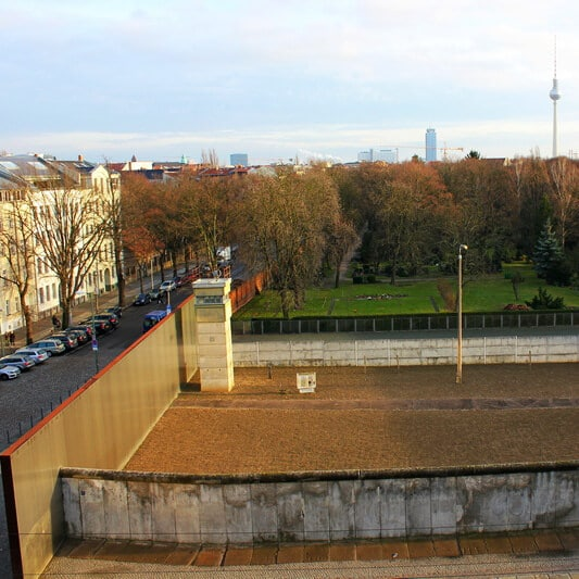 Tower at Bernauer Strasse Wall Memorial, one of the best viewpoints in Berlin. #travel #Berlin #Germany