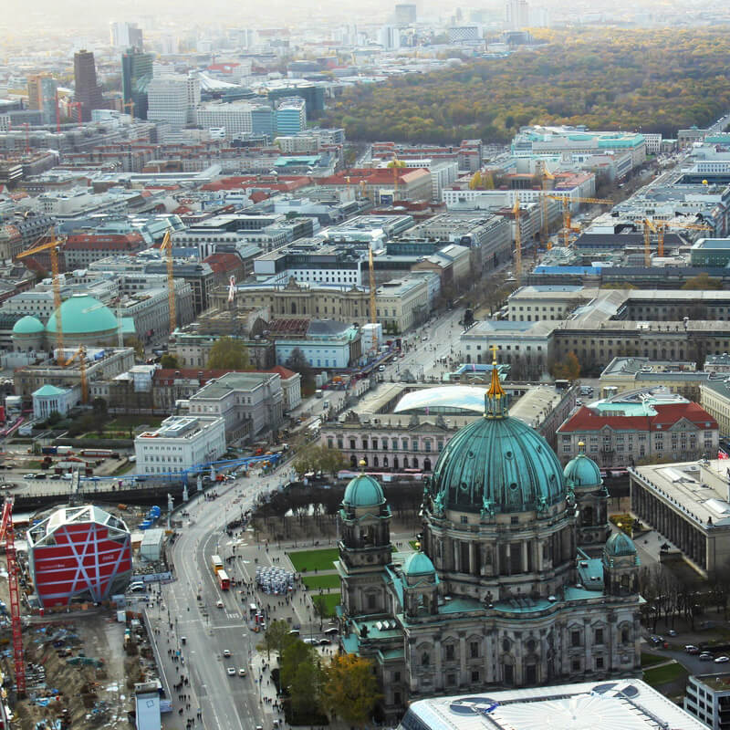 Views of Berliner Dom from the TV Tower, one of the best places to take photos in Berlin. #travel #berlin #germany