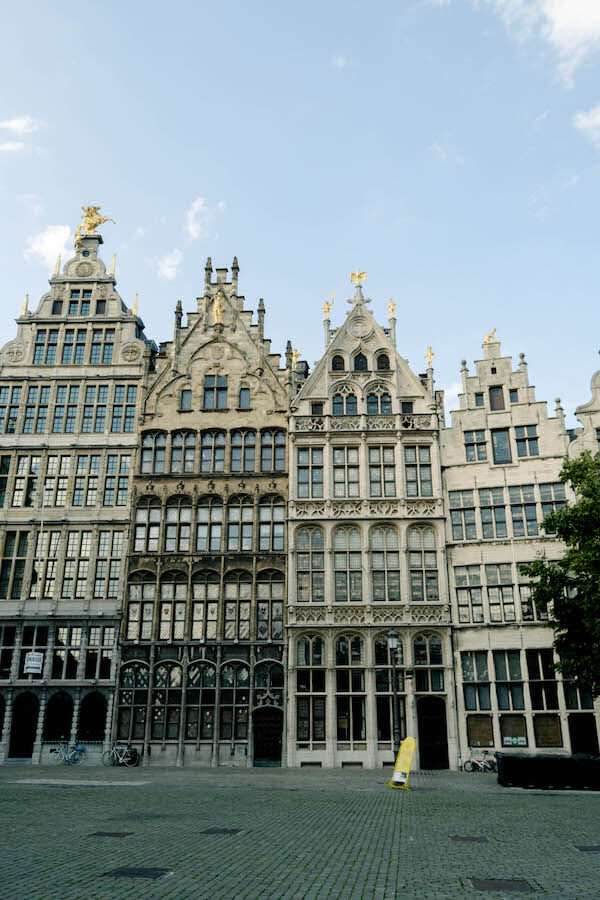 The beautiful medieval houses in the Grote Markt in Antwerp, Belgium. Viewing the architecture is one of the best things to do in Antwerp in one day. #travel #antwerp #belgium