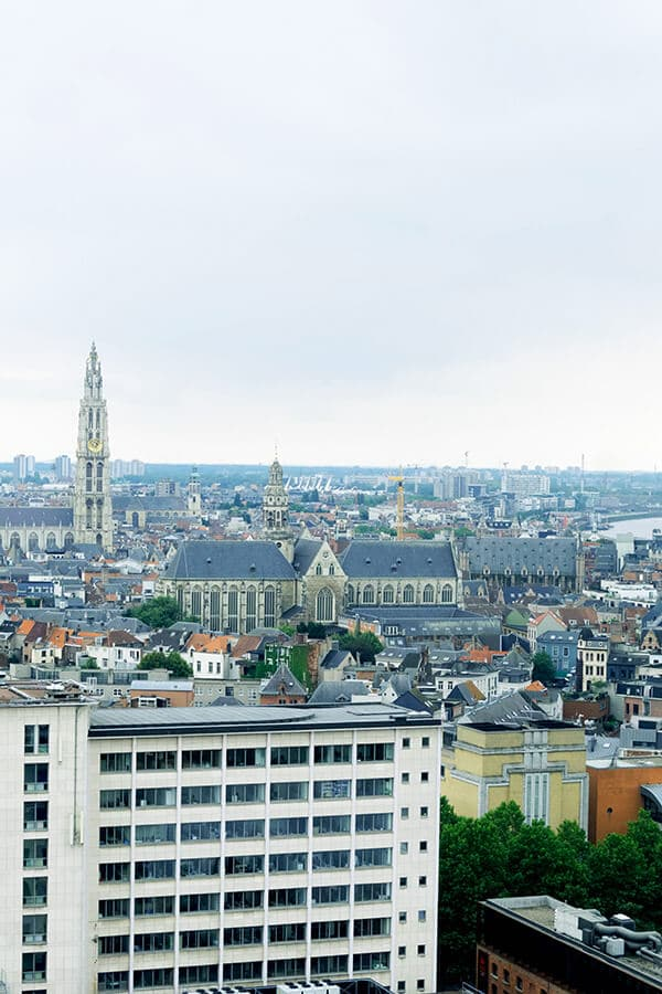 View of Antwerp from MAS, one of the museums in Antwerp. This free viewpoint in Antwerp is one of the best things to do in Antwerp, Belgium! #travel #antwerp