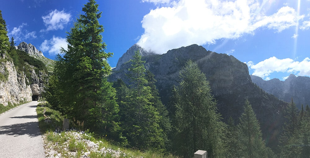 View of the road up Mangart, one of the most dangerous roads in Slovenia. #slovenia #travel