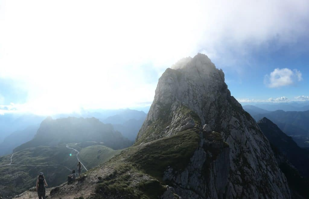 View of Mangert, the third tallest mountain in Slovenia from the Mangart saddle
