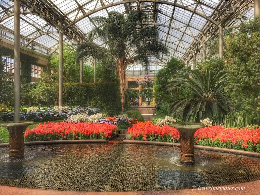 Beautiful indoor conservatory of Longwood Gardens, one of the most beautiful gardens in Pennsylvania.