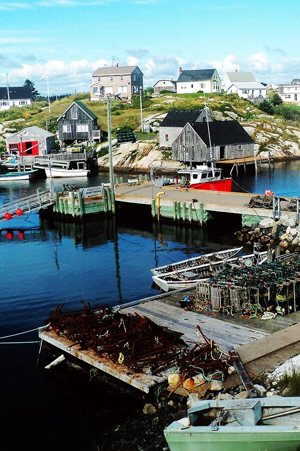 View of the historic pier at Peggy's Cove, one of the most famous places in Canada.  This fishing village is famous for its lighthouses.