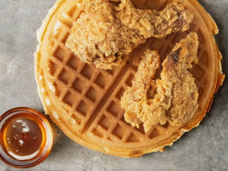 Chicken and Waffles, a famous food that you can find in Harlem in New York CIty.