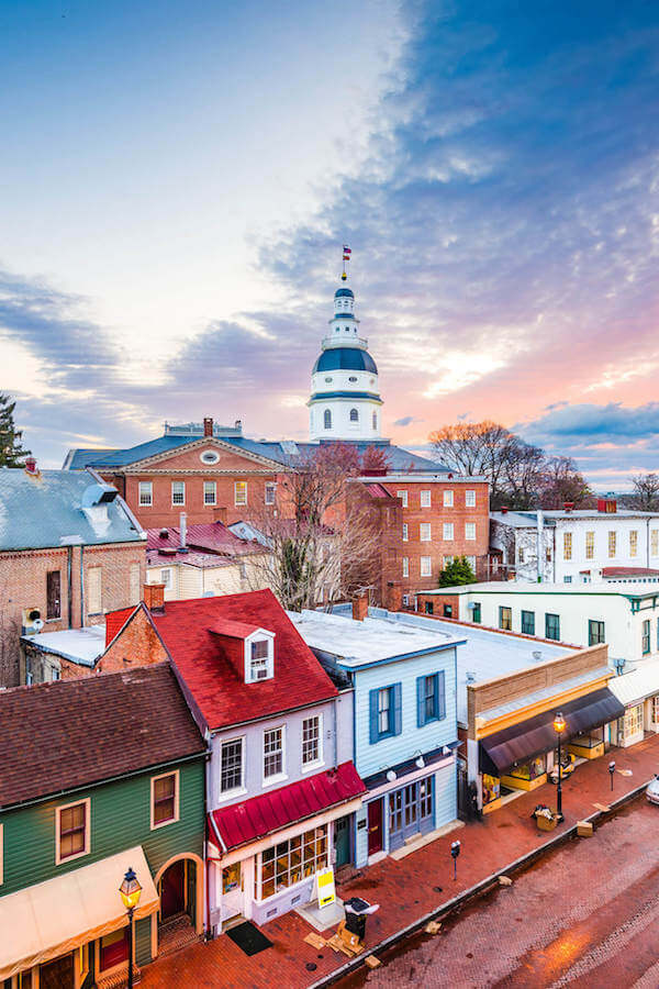 Beautiful view of Annapolis Maryland, one of the cutest day trips from Philadelphia! #travel #maryland #Philly