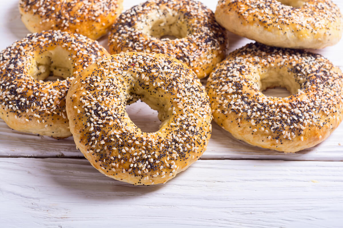 Bagels in New York City are a must-try food in New York City.  Try it with lox or smear like a New Yorker!