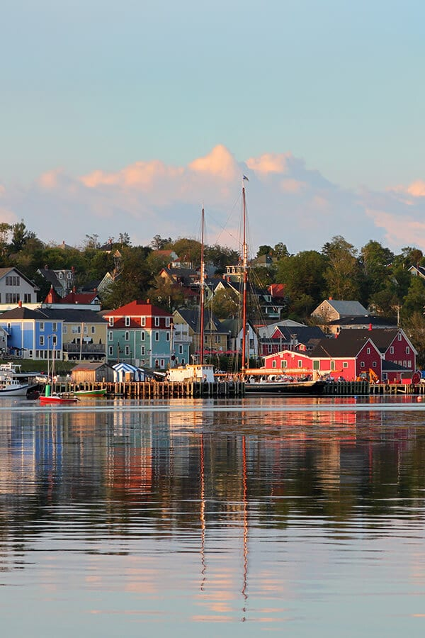 Sunset in Luneburg, one of the most beautiful towns in Canada.  This cute town in Nova Scotia is a must for any road trip! #canada