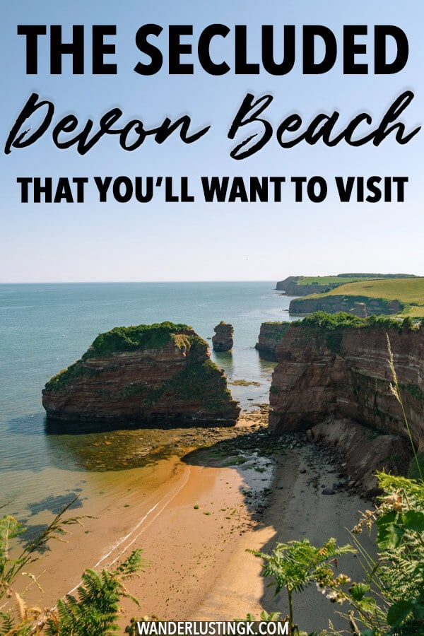 Looking for a beautiful beach in Devon? Head to the secluded Ladram Bay beach along the Devon Cliffs and the Jurassic Coast! #Devon #travel #UK
