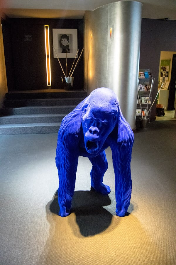 Ape in the lobby of Martin's, a hotel in Brussels perfect for business travelers.