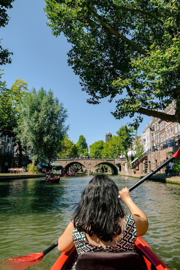 View of Utrecht from a kayak.  Kayaking through the city center is a insider tip for getting the best views of Utrecht!