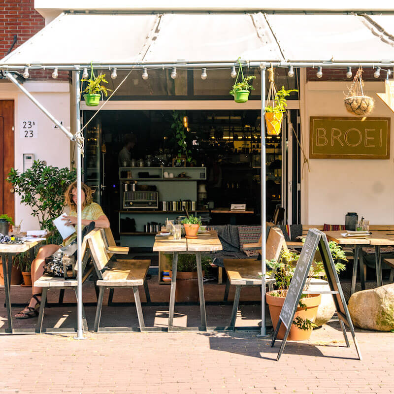 A hip working space in Utrecht, the Netherlands. This vegan friendly cafe is perfect for digital nomads.
