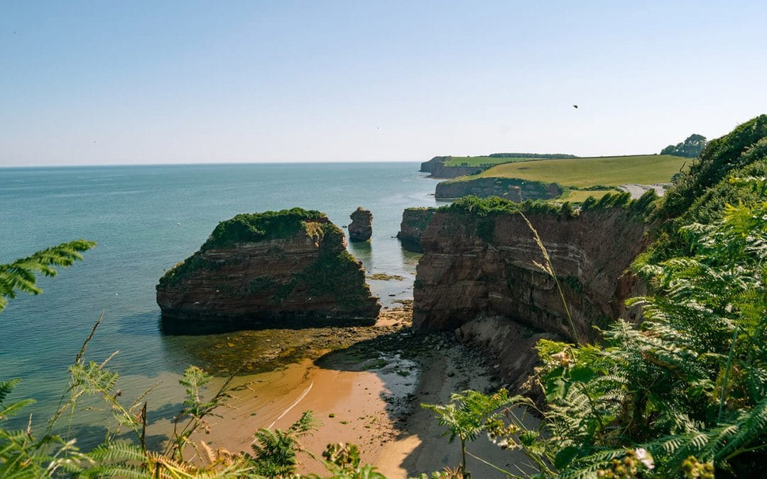 How to visit the stunning private beach and the Devon cliffs at Ladram Bay