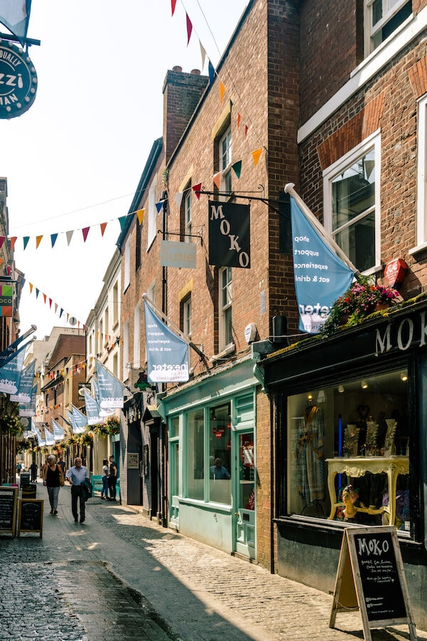 Photograph of Gandy Street in Exeter, one of the cutest shopping streets in Exeter. #exeter #devon