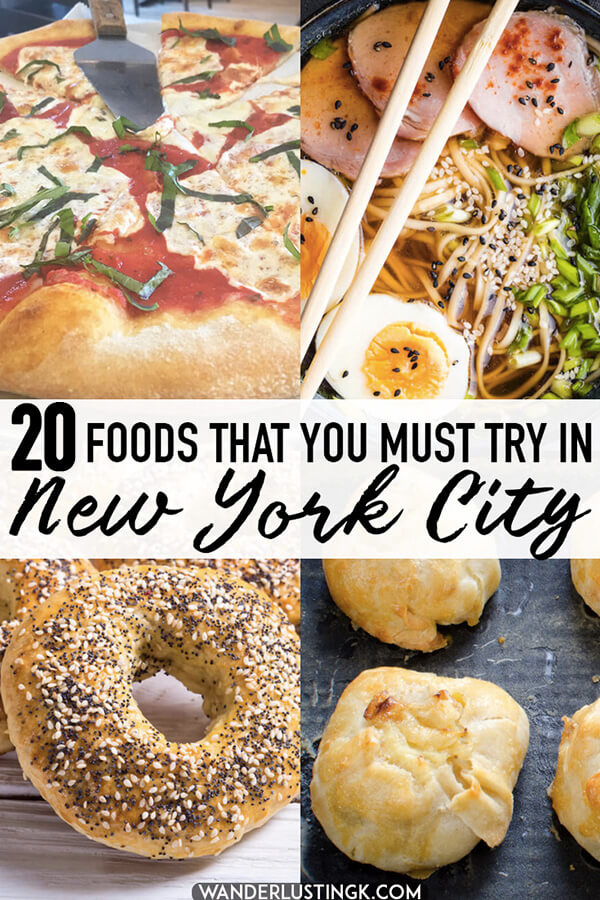 Dreaming of food in New York City? Twenty foods that you must eat in New York City and the best restaurants to find them at.  Your essential NYC eating guide. #NYC #travel #NewYork