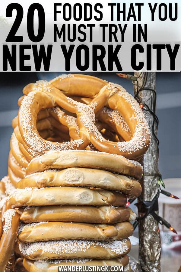 Planning your trip to New York City? Twenty foods that you must eat in New York City for your NYC food bucket list! #travel #food #NYC