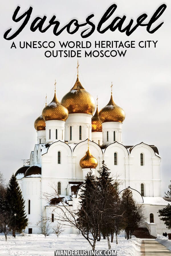 Planning a weekend out of Moscow, Russia? Visit the beautiful Golden Ring city of Yaroslavl, which has a UNESCO recognized city center and stunning churches. #travel #russia #europe #UNESCO #churches #moscow