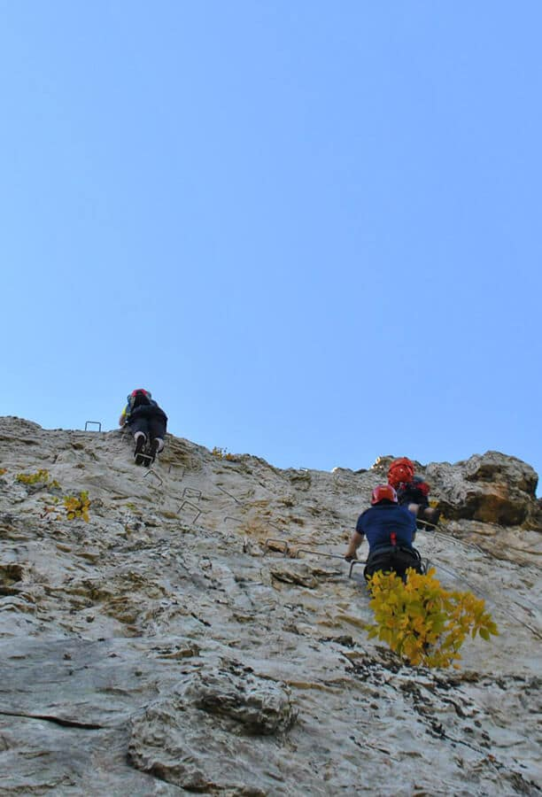 People climbing on the optional summit climb, part of Nelson Rocks Via Ferrata #viaferrata #climbing #westvirginia