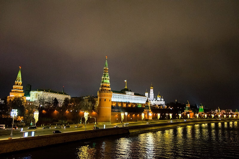 Beautiful night view of the Kremlin in Moscow, Russia. Read travel tips for visiting Russia for the first time!