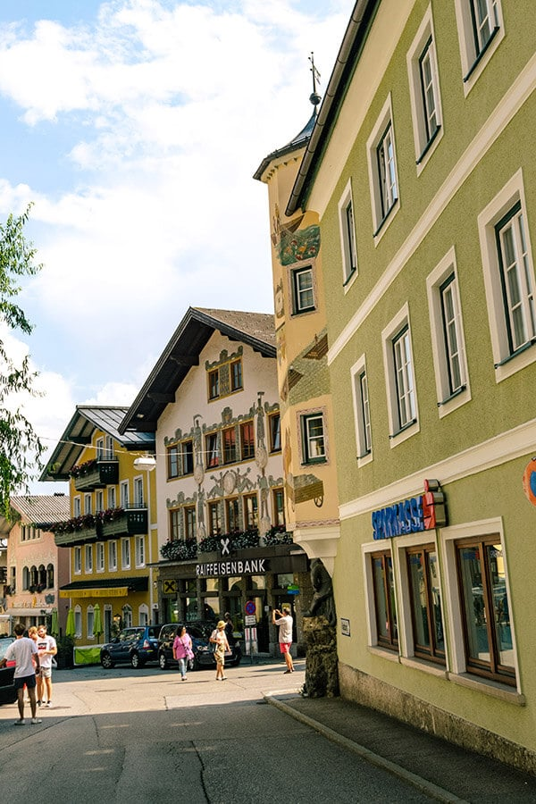 Beautiful street view of the historic city center of St. Gilgen, Austria