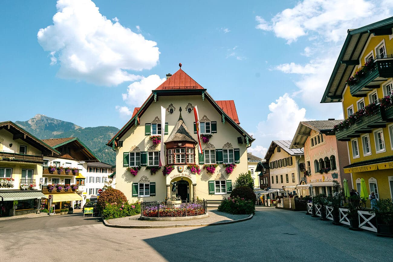 The beautiful city hall of St. Gilgen, Austria. This beautiful town is the perfect alternative to Hallstatt and day trip from Salzburg to enjoy Austria's beautiful alpine lakes!