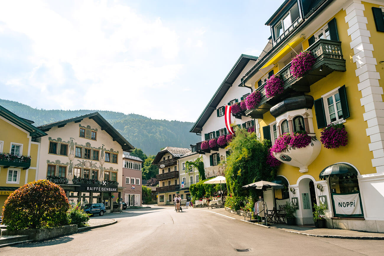 View of the charming town center of St. Gilgen, a beautiful town in Austria.  This alternative to Hallstatt has far fewer tourists!