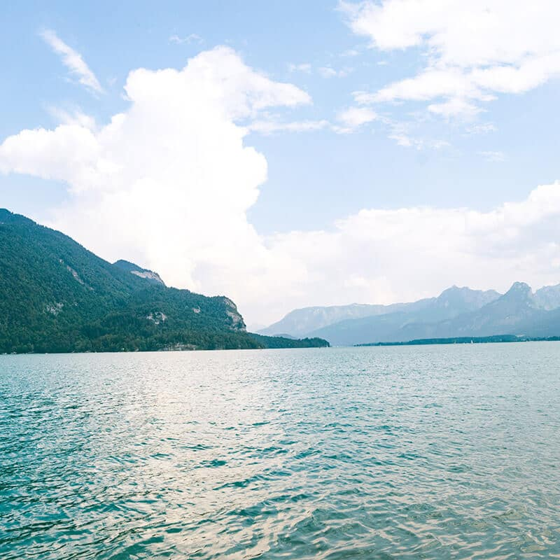The beautiful Wolfgangsee seen from St. Gilgen, Austria.  Consider taking a swim in the lake in summer!