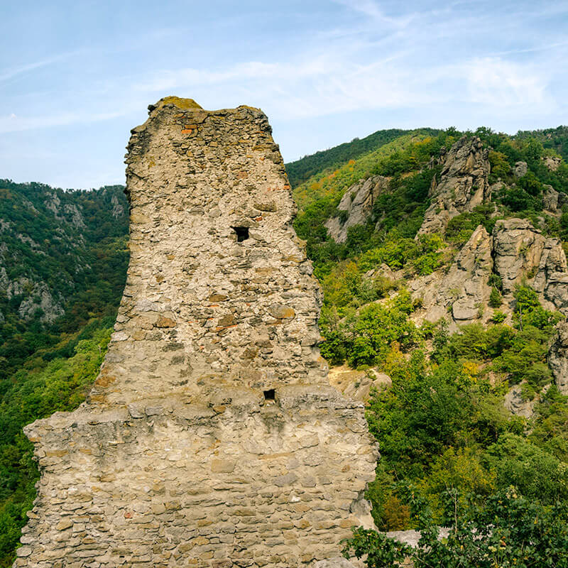 Castle ruins and mountains in the distance in Dürnstein, Austria. #travel #castles #mountains #austria