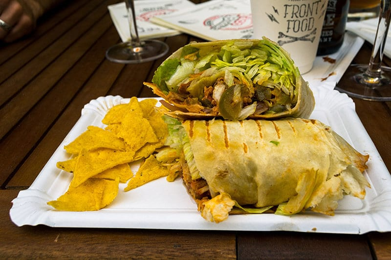 Mexican burrito at Taco Buddies, a restaurant in Linz, Austria serving authentic Mexican food.