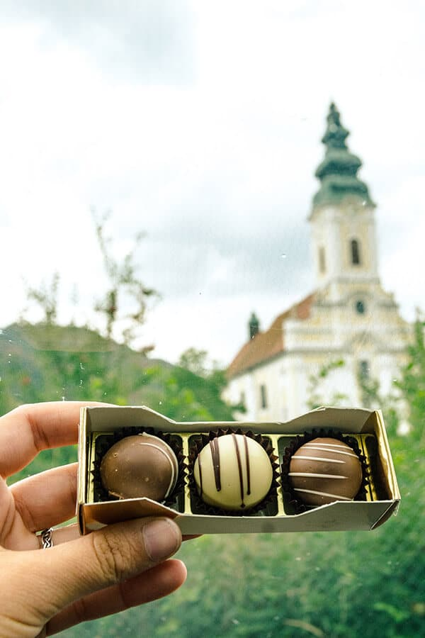 Chocolates from Engelszell Abbey, some of the trappist products made at this Austrian abbey that you can buy at their shop. #abbey #trappist #austria