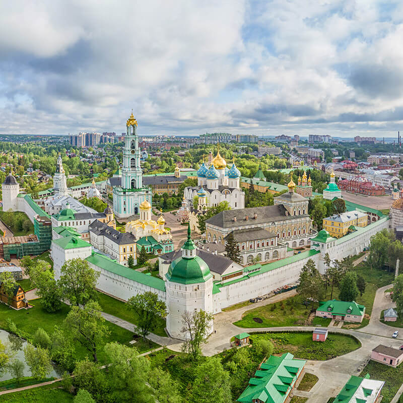 Beautiful Russian monastery from air. If you're planning your trip to Russia, read these Russian travel tips!
