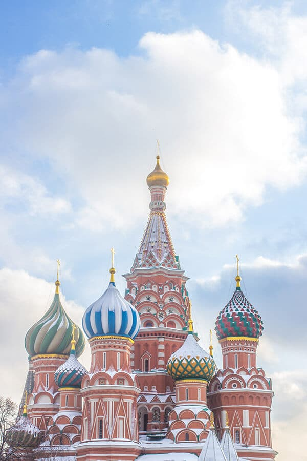 Saint Basil's Cathedral in Moscow. Read travel tips for visiting Russia for first time visitors! #russia #moscow #travel