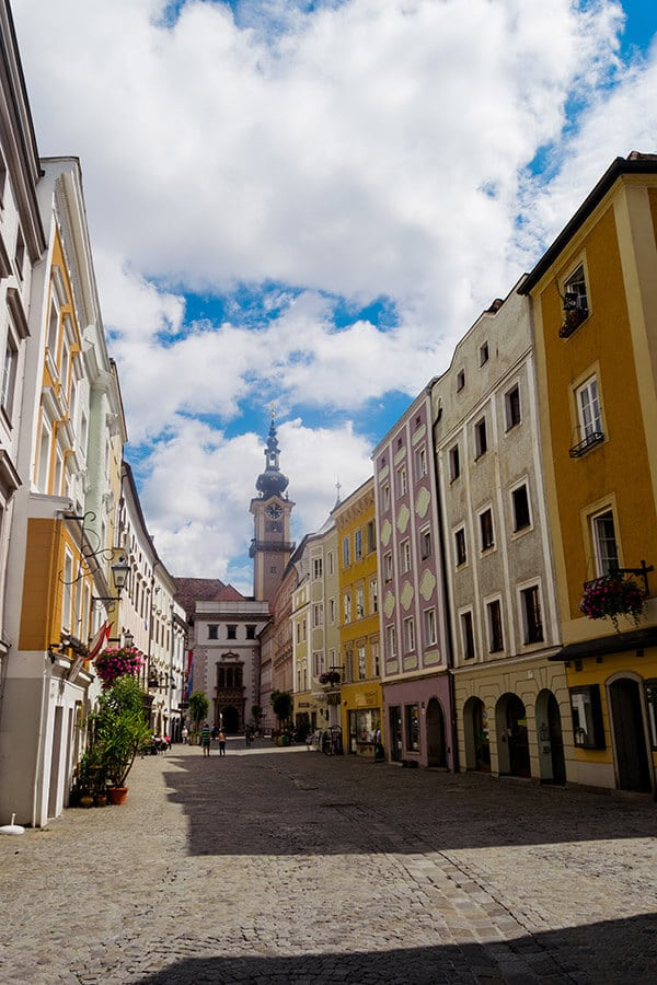 Beautiful view of Linz's historic city center.  This off the beaten path city in Austria is perfect for those looking to save money on accomodation in Austria. #travel #austria #linz