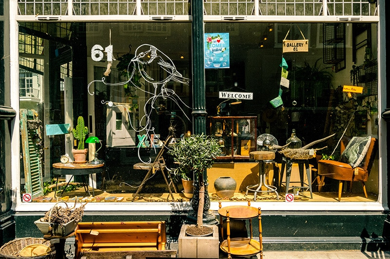 Beautiful storefront of Gallery 61, a charming independent boutique in Dordrecht, Holland.