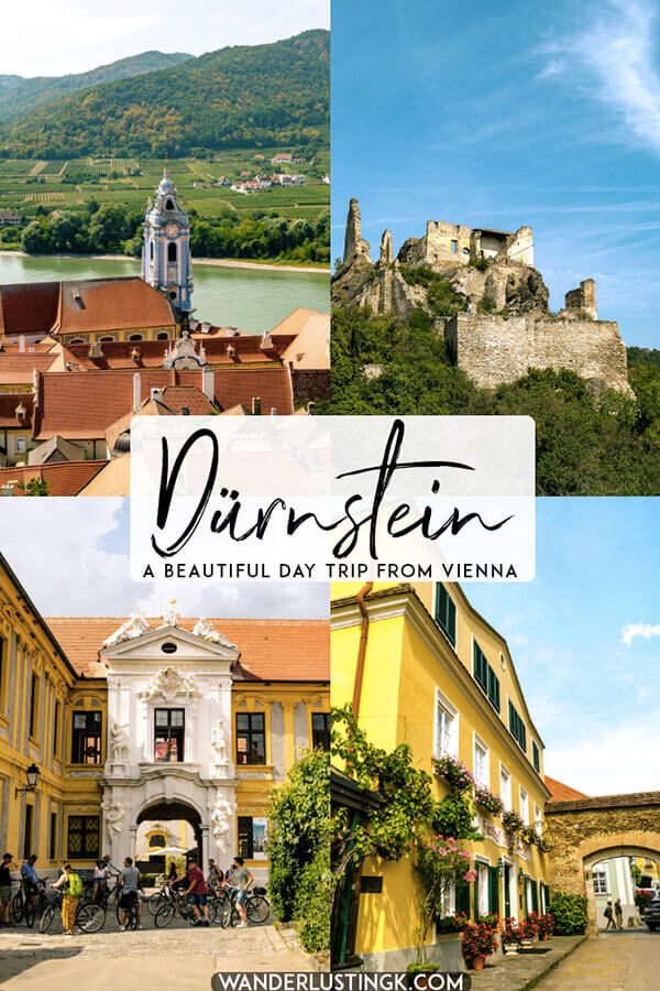 Looking for the prettiest day trip from Vienna? Head to the beautiful Wachau wine region to visit Dürnstein, one of the prettiest towns in Austria. This gorgeous town even has castle ruins to explore! #travel #austria #vienna #europe