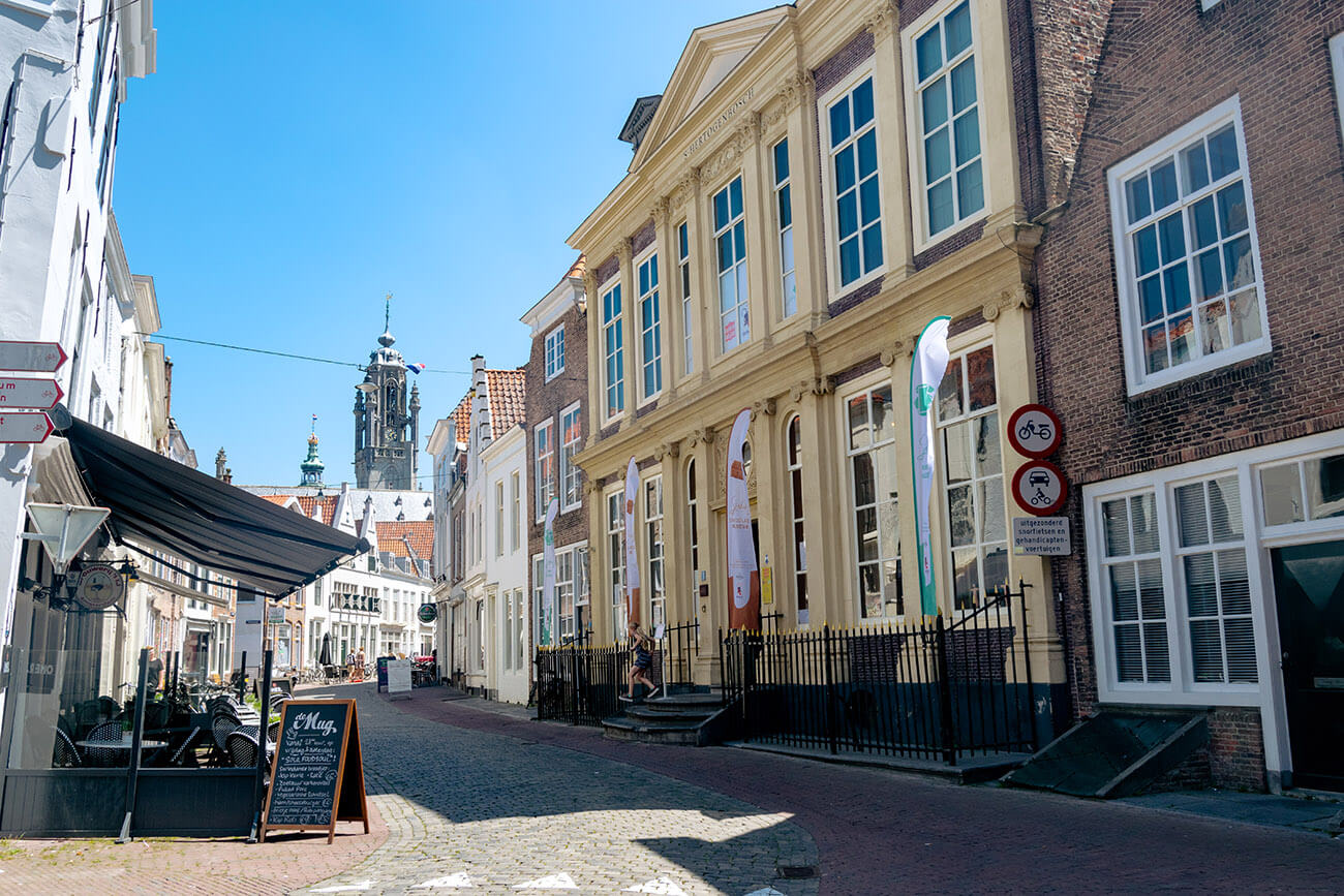 Beautiful street with historic houses in the stunning Zeeuwse capital of Middelburg, the Netherlands.