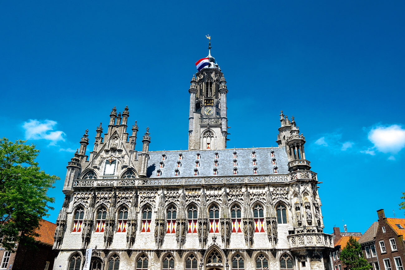 Beautiful Gothic City Hall in Middelburg, the Netherlands. Read about things to do in Middelburg, the Netherlands.
